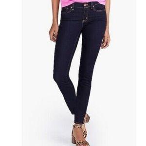 J crew dark indigo mid rise skinny ankle jeans